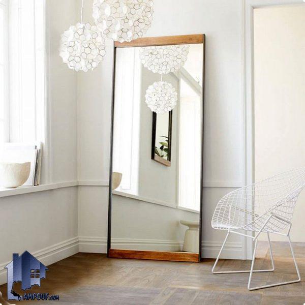 آینه قدی ایستاده 100*200 مدل SMJ203 با قاب MDF که به صورت دکوراتیو میتواند در اتاق خواب پذیرایی سالن های آرایش و آتلیه های عکاسی قرار بگیرد;