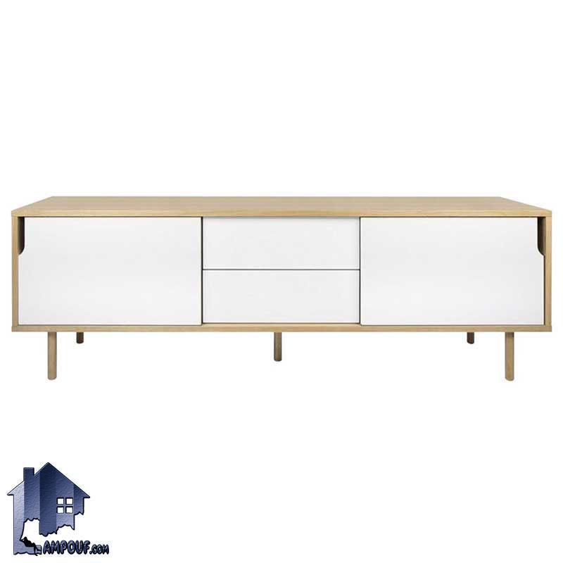 میز تلویزیون LCD مدل TTJ21 با طراحی زیبا و مدرن که به صورت کلاسیک و درب دار و کشو دار با استفاده از دو درب و کشو ساخته شده است