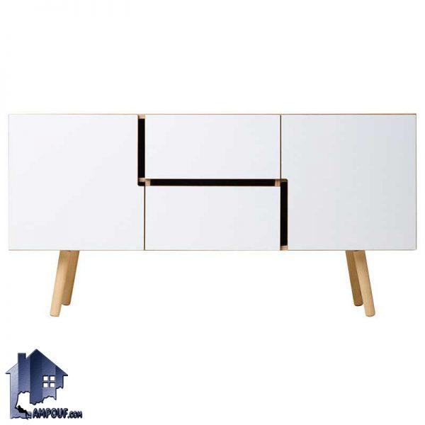 میز تلویزیون LCD مدل TTJ24 با ساختاری بسیار مدرن و در عین حال کلاسیک که دارای طراحی به صورت درب دار و کشو دار که از جنس MDF ساخته شده است