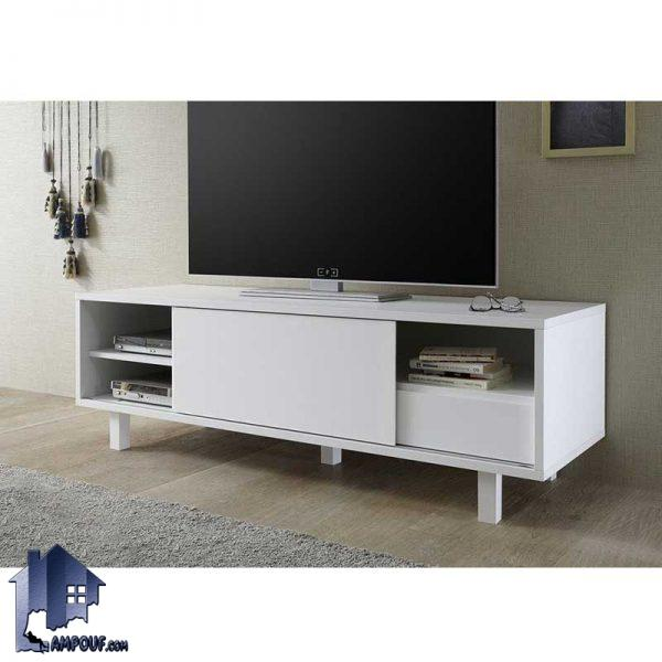 میز تلویزیون LCD مدل TTJ27 دارای ساختاری به صورت کلاسیک و دارای در کشویی و به صورت کشویی و ویترین دار و قفسه دار که از MDF ساخته شده است