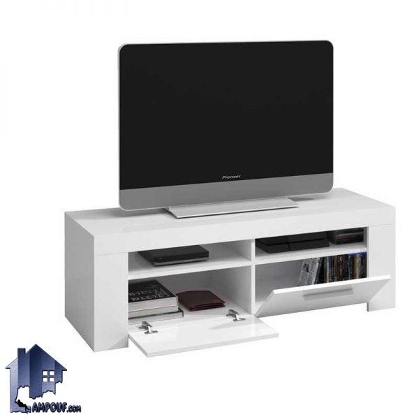 میز تلویزیون LCD مدل TTJ31 که درب دار و با درب داشبردی و دو قفسه که از MDF به صورت دیواری و زمینی به رنگ های متنوع میتواند ساخته شود