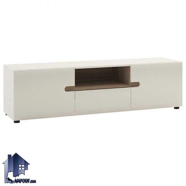 میز تلویزیون LCD مدل TTJ33 با جنس MDF که به صورت کشو دار قفسه دار ویترین دار و درب دار با رنگ های متنوع به صورت پایه دار و دیواری ساخته میشود