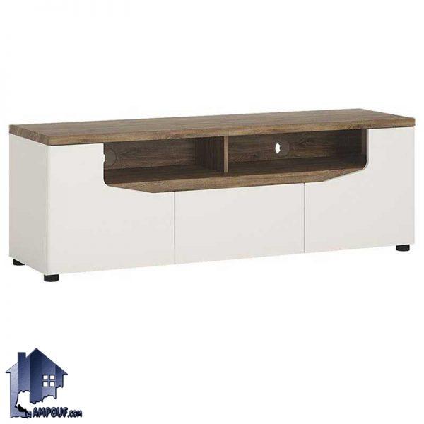 میز تلویزیون LCD مدل TTJ34 که از جنس MDF و به صورت ویترین دار و قفسه دار از رنگ های متنوع ساخته شده است که میتواند کشو دار نیز باشد