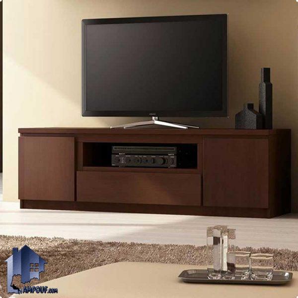 میز تلویزیون LCD مدل TTJ37 قفسه ای ویترینی و کشودار و درب که از جنس MDF ساخته شده و میتواند فضایی زیبا را برای شما به وجود آورد;