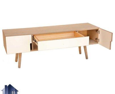 میز تلویزیون LCD مدل TTJ40 با طراحی زیبا و دارای جنس MDF که دارای درب و ویترینی و همچنین پایه چوبی میباشد. و به صورت کلاسیک و متفاوت طراحی شده است