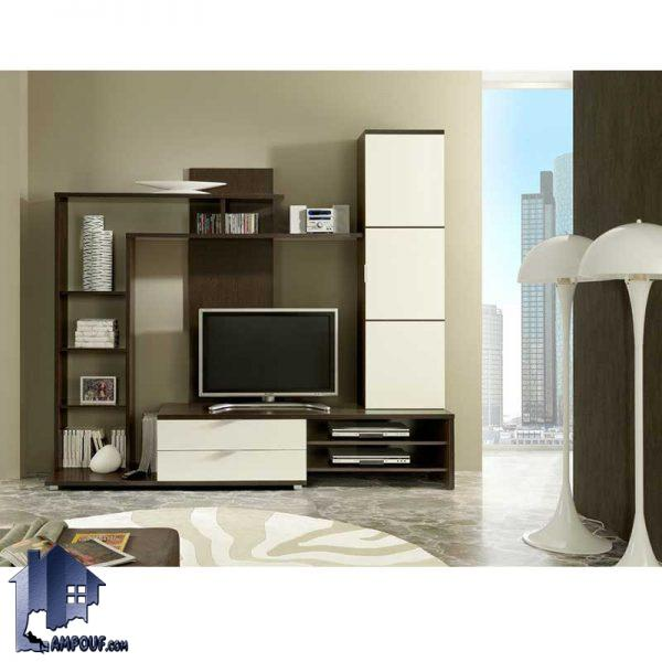 میز تلویزیون LCD مدل TTJ41 که به صورت ساده و ویترینی و ایستاده و دارای کشو و قفسه و درب و از جنس MDF با رنگ های متنوع ساخته میشود