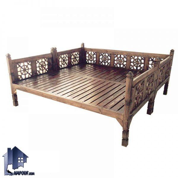 تخت چوبی سنتی 200*200 مدل TrK251 دارای طراحی به صورت خراطی برای رستوران و قهوه خانه و سفره خانه های سنتی با رنگ های متنوع میباشد