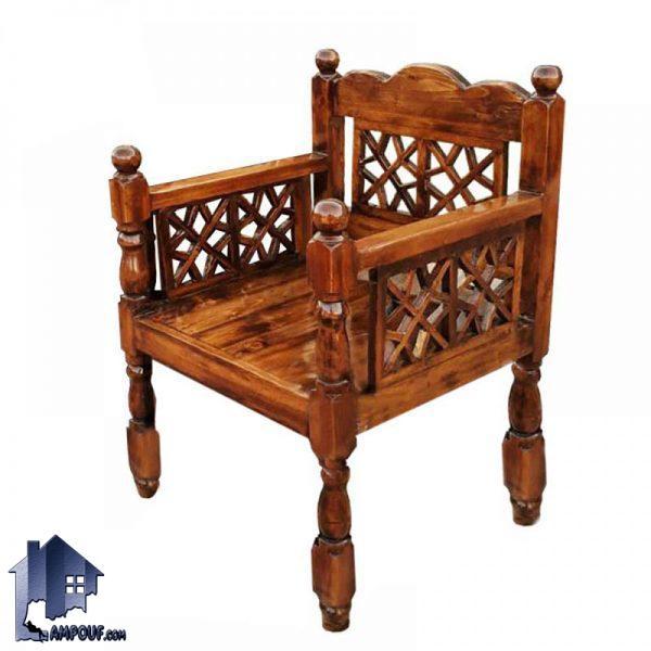 صندلی چوبی سنتی 60*60 مدل TrK255 که مناسب برای سفره خانه و قهوه خانه و رستوران و مسجد و حسینه و هیئت ها به صورت سنتی و خراطی شده ساخته میشود
