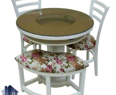 ست میز نهارخوری چهار نفره دارای یک عدد میز با قطر 100 سانتیمتر دارای دو صندلی و یک نیمکت با میز صفحه گرد و پایه گلدانی میباشد; در قسمت روی میز از یک صفحه شیشه ای با قطر 8 میل استفاده شده است