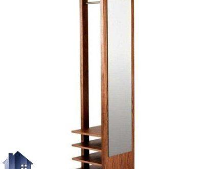 آینه ایستاده قدی SMJ185 دارای جالباسی و به صورت قفسه دار که از جنس MDF برای اتاق خواب و یا در قسمت ورودی منزل مورد استفاده قرار میگیرد