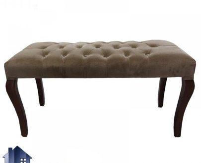 نیمکت BA101 که به عنوان صندلی دو نفره با نشیمن پارچه ای و چرمی و لمسه شده در کنار میز نهارخوری بوده که دارای پایه های ثم آهویی چوبی با رنگ های متنوع میباشد.