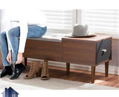 نیمکت باکس دار و کشو دار BJ147 که دارای بدنه از جنس MDF و پایه چوبی میباشد که به عنوان صندلی دو نفره و یا میز تلفن میتواند مورد استفاده قرار بگیرد.