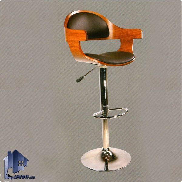 صندلی کانتر و اپن BSO2136 با نشیمن از MDF که به صورت جکدار ساخته شده و برای میز بار آشپزخانه رستوران کافی شاپ و فست فود مورد استفاده قرار میگیرد.