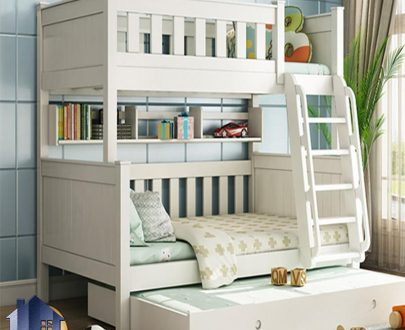 تخت خواب دو طبقه TBJ10 که مناسب برای اتاق کودک و نوجوان ساخته شده و این تختخواب با دو جنس به صورت MDF رنگ شده و وکیوم شده ارائه میشود.