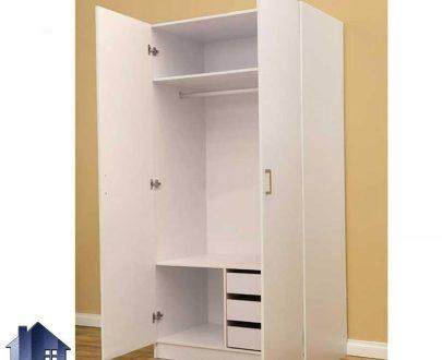 کمد جالباسی CHJ168 دارای سه کشو بزرگ با دو درب و همچنین میله آویز لباس و قفسه که میتواند به عنوان یک کمد دیواری در اتاق خواب شما قرار بگیرد.