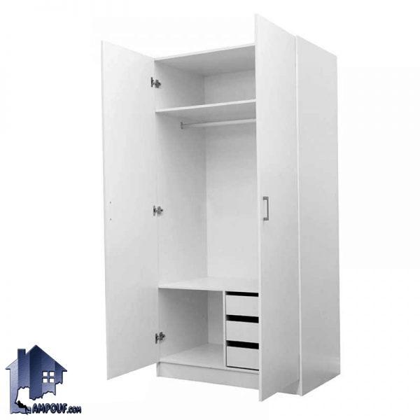 کمد جالباسی LHJ168 دارای سه کشو بزرگ با دو درب و همچنین میله آویز لباس و قفسه که میتواند به عنوان یک کمد دیواری در اتاق خواب شما قرار بگیرد.