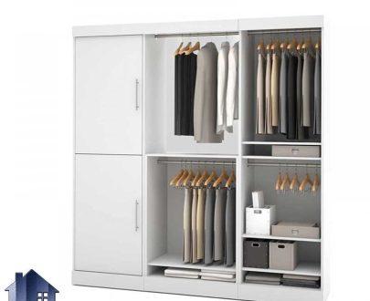 کمد جالباسی LHJ172 که به عنوان یک کمد دیواری در اتاق خواب به صورت قفسه دار درب دار و دارای میله و رگال آویز لباس و از جنس MDF طراحی شده است.