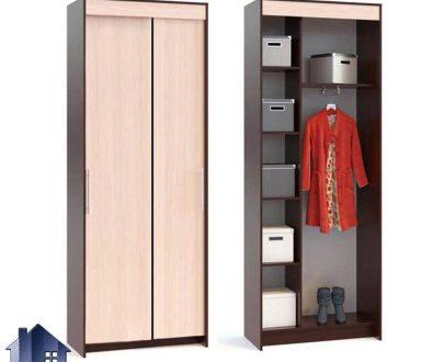 کمد جالباسی LHJ284 به صورت قفسه ای که به عنوان کمد لباس با درب کشویی میتواند در اتاق خواب مورد استفاده قرار بگیرد و از MDF ساخته میشود.