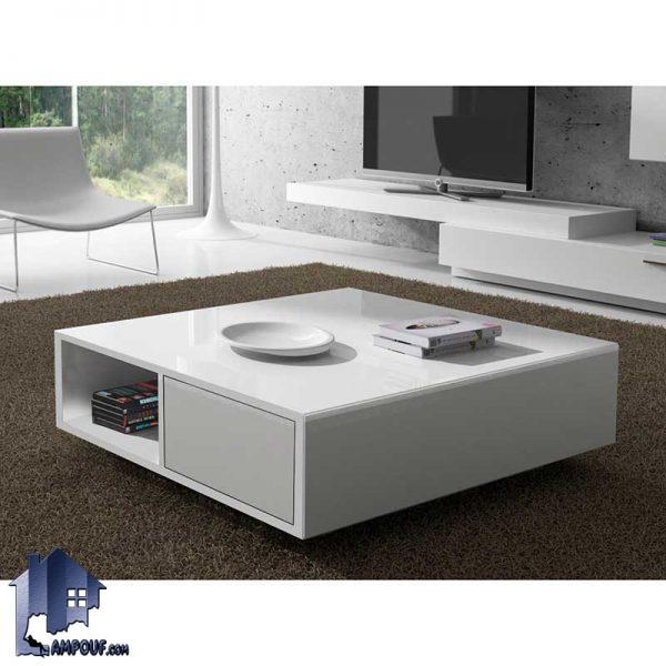 میز جلومبلی چوبی HOJ104 که به صورت کشو دار و و قفسه دار با طراحی دکوراتیو که به عنوان جلو مبلی در کنار مبلمان اداری و خانگی مورد استفاده قرار میگیرد.