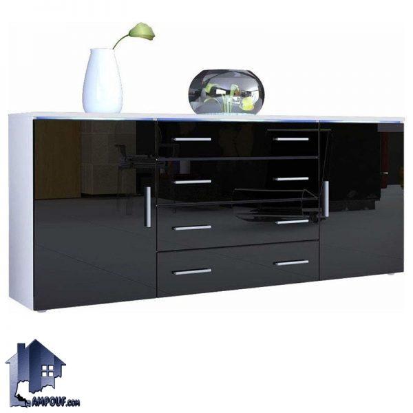 میز کنسول SCJ123 کشو دار و درب دار که به عنوان یک دراور و میز کنسولی نیر مورد استفاده قرار میگیرد و از جنس MDF با رنگ های متنوع ساخته شده است.