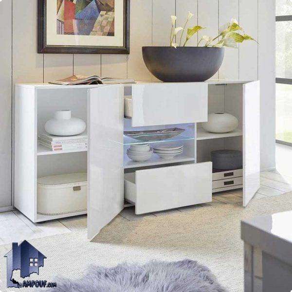 کنسول SCJ132 که میتواند در سالن پذیرایی و آشپزخانه و یا اتاق خواب استفاده شود که به صورت درب دار کشو دار و قفسه دار و از جنس MDF ساخته شده است.