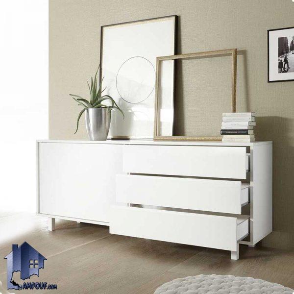 کنسول SCJ134 که به صورت کشو دار و درب کشویی و قفسه دار همانند یک میز آرایش از جنس MDF و با رنگ های متنوع و با طراحی کلاسیک ساخته شده است.
