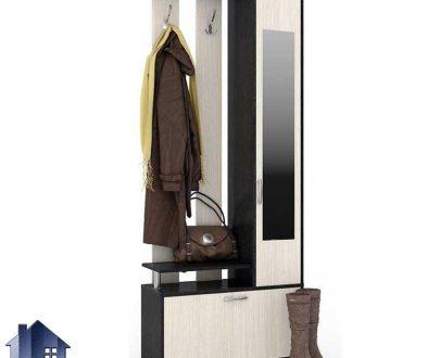 جاکفشی و جالباسی SHJ298 به صورت ایستاده و با در آینه ای و درب داشبردی برای کفش ها و همچنین قفسه و رگال آویز لباس که از جنس MDF طراحی شده است.