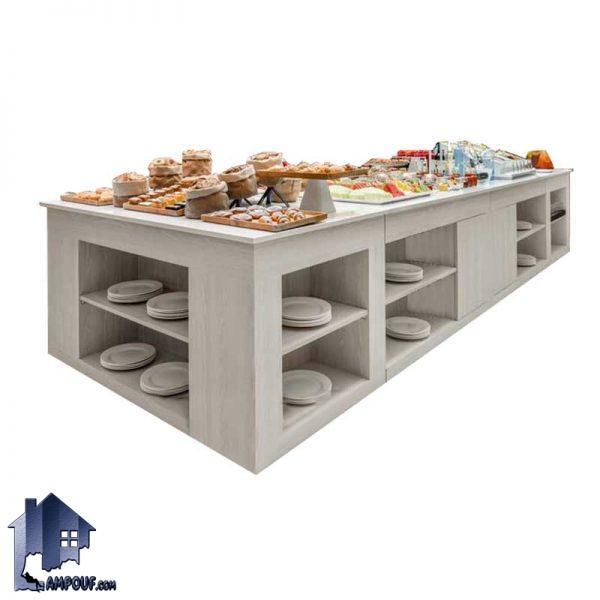 میز سلف سرویس SSTJ100 و میز بوفه که از جنس چوب مصنوعی با روکش ملامینه شده ساخته شده و برای پذیرایی در رستوران ها و هتل و دیگر فضا های مشابه استفاده میشود.