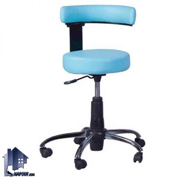 صندلی تابوره LCV100 که به عنوان یک صندلی اداری در آزمایشگاه و مطب و بیمارستان استفاده میشود و دارای استراکچر فلزی و پایه های پنجپر و به صورت جکدار میباشد.
