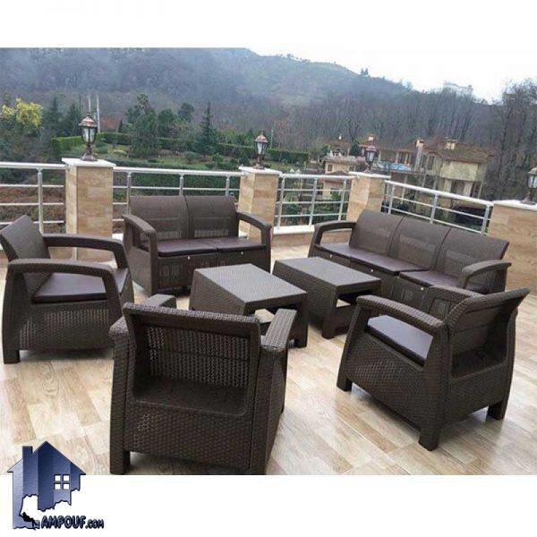 مبل 4 نفره فضای باز OFKH100 که این مبلمان دارای خواص ضد آب و مقاوم در برابر خورشید دارای بافت که برای رستوران و کافی شاپ و محیط باغی و استخر مناسب است.