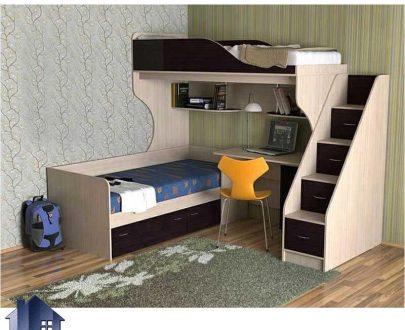 تخت خواب دو طبقه TBJ11 با طراحی ال شکل و به صورت تختخواب کمجا و به صورت میز تحریر دار که برای اتاق کودک و نوجوان ساخته شده است و حداقل فضا را اشغال میکند .