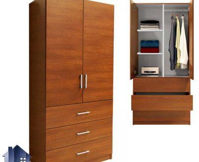 کمد جالباسی LHJ155 به صورت دراور دار و دارای سه کشو و رگال آویز لباس و قفسه و دو درب که میتواند در کنار سرویس خواب شما در اتاق خواب قرار بگیرد.