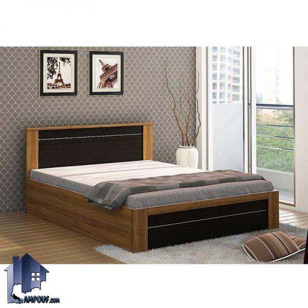 تخت خواب دو نفره DBJ111 دارای کفی به صورت باکس دار و تاج طرح دار که در دو ابعاد کینگ King و کوئین Queen به عنوان تخت دو نفره استاندارد استفاده میشود.