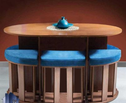 ست میز نهارخوری کمجا DTB9 که دارای طراحی میز به صورت بیضی و شش عدد صندلی ناهار خوری با نشیمن نرم و به صورت کم جا که برای آشپزخانه و همچنین کافی شاپ مناسب است
