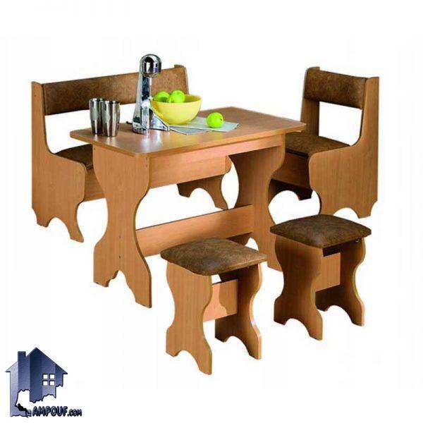 ست میز نهارخوری 6 نفره DTJ14 با طراحی ظریف و مقاوم از چوب MDF که به عنوان یک میز غذاخوری شش نفره در آشپزخانه و کافی شاپ و رستوران مورد استفاده قرار بگیرد.