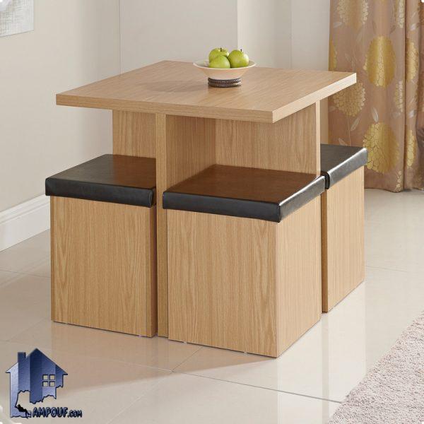 ست میز نهارخوری کمجا DTJ8 با صندلی باکس دار و به صورت یک ناهار خوری کم جا که میتواند در داخل آشپزخانه و رستوران و کافی شاپ به عنوان میز غذاخوری استفاده شود