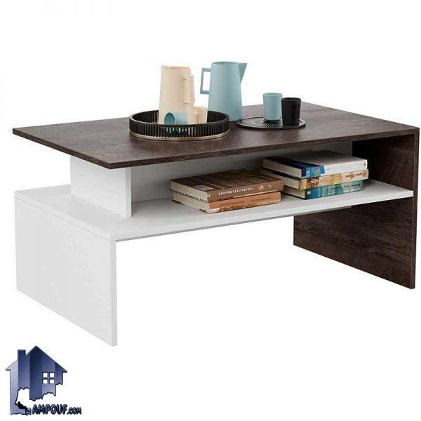 میز جلومبلی HOJ113 دارای طراحی به صورت قفسه دار که در کنار مبلمان اداری و خانگی و در سالن پذیرایی به عنوان میز جلوی مبل برای پذیرایی استفاده میشود.