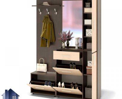 کمد جالباسی LHJ295 که به صورت قفسه دار و دارای میله آویز لباس و کشو و درب جکدار و آینه با طراحی زیبا که در داخل اتاق خواب و دفاتر مدیریت قابل استفاده است.