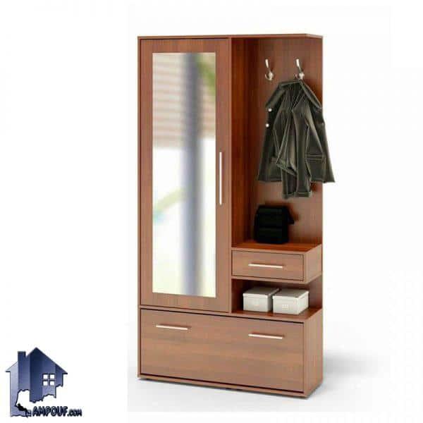 جاکفشی و جالباسی SHJ138 با یک درب آینه ای و یک درب داشبردی که به صورت قفسه دار و کشو دار طراحی شده و در قسمت ورودی منزل دکوری زیبا را به وجود میآورد.