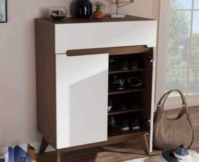 جاکفشی SHJ150 به صورت درب دار و قفسه دار و کشودار که دارای بدنه از چوب مصنوعی و پایه های کاملا چوبی و از جنس چوب راش بوده که دارای طراحی کلاسیک میباشد.