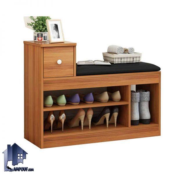 جاکفشی نیمکتدار SHJ317 که با طراحی کشو دار و قفسه دار به صورت نیمکت دار برای قسمت های مختلف منزل از جمله ورودی منزل و در داخل اتاق خواب طراحی شده است.