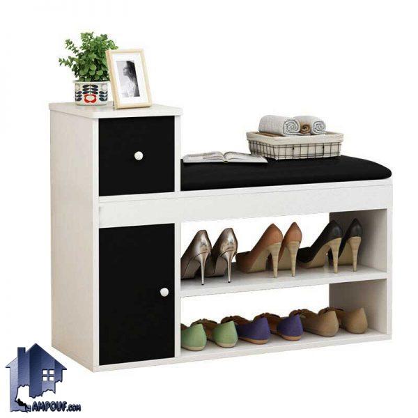 جاکفشی نیمکتدار SHJ318 با طراحی درب دار و کشو دار و قفسه دار که به عنوان یک استند جای کفش در قسمت ورودی منزل و اتاق خواب مورد استفاده قرار میگیرد.