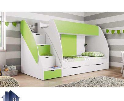 تخت خواب دو طبقه TBJ1 که مناسب برای کودک و نوجوان بوده و به صورت کشو دار و قفسه دار و ویترینی با طراحی بسیار زیبا ساخته شده میتواند دکور متفاوت ایجاد نماید.
