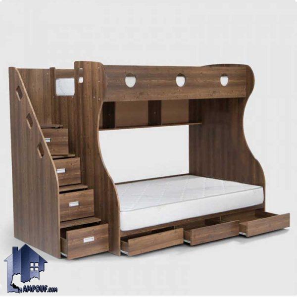 تخت خواب دو طبقه TBJ15 که به عنوان یک تختخواب دوطبقه کودک و نوجوان و یا حتی بزرگسال که دارای کشو و پله است در داخل اتاق خواب مورد استفاده قرار میگیرد.