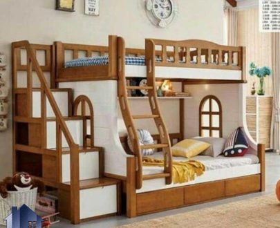 تخت خواب دو طبقه TBJ3 کلبه ای به صورت کشو دار که میتواند برای اتاق کودک و نوجوان بسیار مناسب باشد و فضایی زیبا و متفاوتی را در داخل اتاق خواب به وجود آورد.