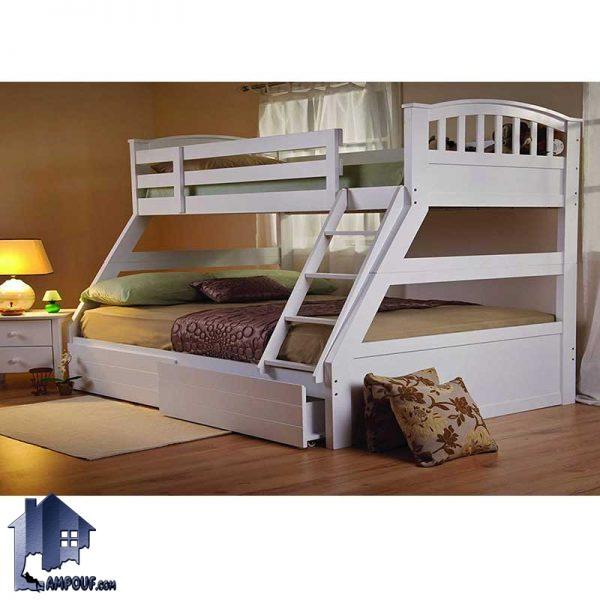 تخت خواب دو طبقه TBJ4 با طراحی متفاوت و زیبا که به صورت کشو دار و نرده دار در دوطبقه ساخته شده و به عنوان یک تختخواب کودک و نوجوان و بزرگسال استفاده میشود.