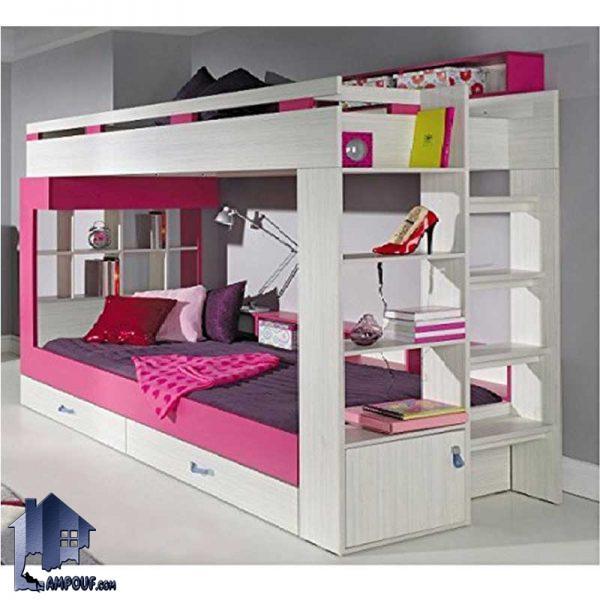 تخت خواب دو طبقه TBJ5 با طراحی دکوراتیو و به صورت ویترین دار و قفسه دار و کشو دار که بع عنوان یک تختخواب دوطبقه در اتاق خواب کودک و نوجوان استفاده میشود.