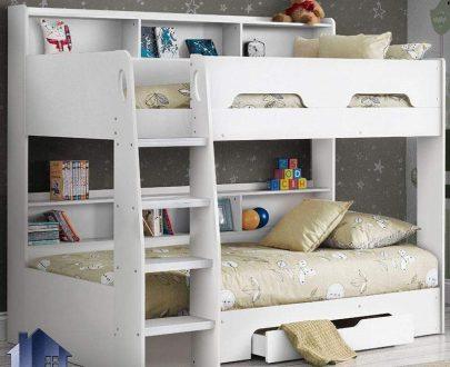 تخت خواب دو طبقه TBJ6 با طراحی کمجا و به صورت کشو دار و ویترین دار و قفسه دار برای اتاق های کودک و نوجوان طراحی شده و میتواند تختخواب راحتی را فراهم آورد.