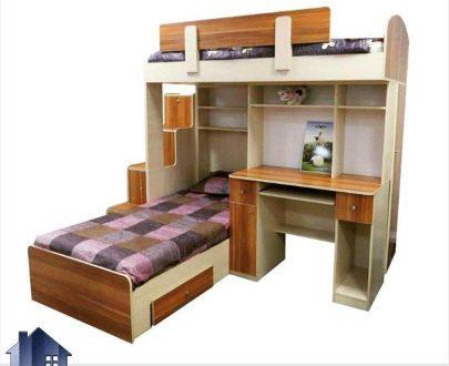 تخت خواب دو طبقه TBJ7 برای اتاق های کودک و نوجوان با فضای کم و به صورت کمجا که دارای کمد و میز تحریر و کشو بوده و به صورت ال شکل طراحی شده است.