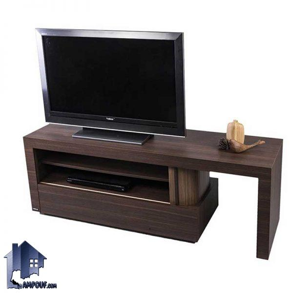میز LCD مدل TTBG1 که به صورت قفسه دار و با درب کرکره ای رول آپ طراحی شده و میتواتند به عنوان استند تلویزیون در قسمت تی وی روم و پذیرایی منزل شما قرار بگیرد.